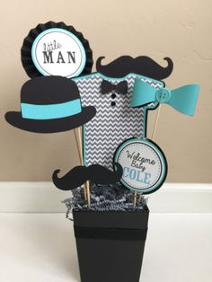 Custom Little Man Mustache Baby Shower Centerpiece Decoration