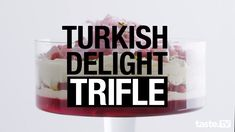 When Aussie tradition meets flavours of the Middle East, you get this moreish Turkish Delight trifle. With rose water, pistachios and Persian fairy floss, this show stopping dessert will be a hit at your next dinner party. Christmas Lunch, Christmas Cooking, Christmas Desserts, Christmas Foods, Christmas 2019, Jelly Recipes, Real Food Recipes, Snack Recipes, Cooking Recipes