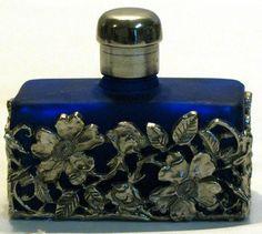Cobalt blue Glass vintage PERFUME BOTTLE Filigree silver metal Floral Sleeve