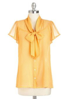 Jonquil You Be Mine? Top - Yellow, White, Polka Dots, Tie Neck, Work, Short Sleeves, Sheer, Mid-length