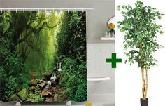 Easy DIY Makeover: Turn a Bathroom into a Forest with a Shower Curtain with Trees Creek + Artificial Ficus Tree Green Shower Curtains, Ficus Tree, Forest Bathing, Wall Murals, Easy Diy, Bathroom, Places, Diy Ideas, Trees