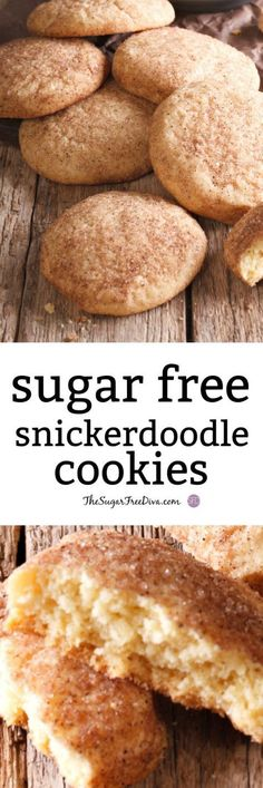 Sugar Free Snickerdoodle Cookies- This sugar free cookie recipe is the perfect dessert or treat for the holidays! Sugar Free Snickerdoodle Cookies- This sugar free cookie recipe is the perfect dessert or treat for the holidays! Sugar Free Cookie Recipes, Sugar Free Deserts, Sugar Free Baking, Sugar Free Sweets, Sugar Free Cookies, Diabetic Friendly Desserts, Diabetic Snacks, Diabetic Recipes, Pre Diabetic