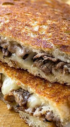The melted, soft center and toasted-brown exterior of this delicious Steak and Mushroom Grilled Cheese has the best of crunchy and gooey in a single bite! Panini Recipes, Grilled Cheese Recipes, Beef Recipes, Cooking Recipes, Grilled Cheeses, Easy Cooking, Grilled Cheese Sandwiches, Grill Cheese Sandwich Recipes, Best Grilled Cheese
