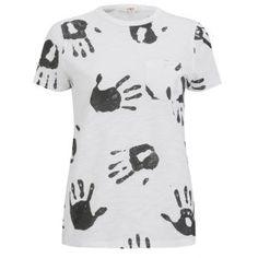YMC WOMEN'S HAND PRINT T-SHIRT - WHITE/BLACK