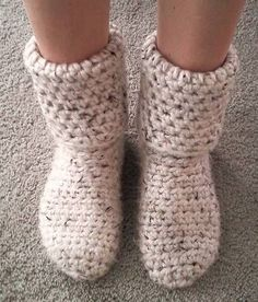 Slipper Boots! So toasty warm! - CROCHET