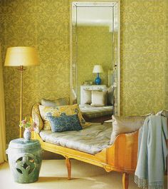 Michael S. Smith: Green + blue damask room + daybed