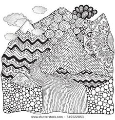 Black and white abstract fantasy picture. Mountains and river. Pattern for coloring book. Hand-drawn, ethnic, doodle, vector, zentangle, tribal design elements.  Zen art. Zentangle. Doodle.