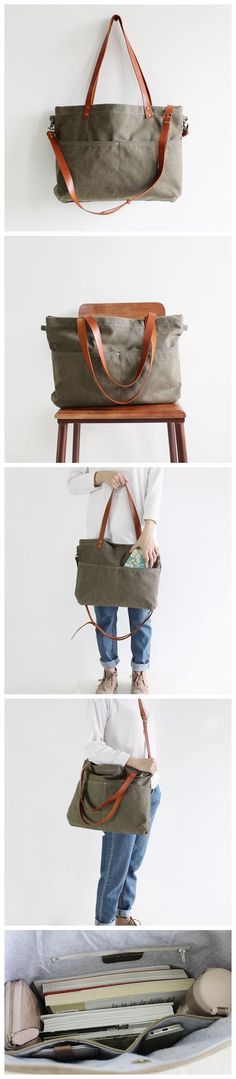 Handmade Canvas Tote Messenger Bag Shopper Bag School Bag Handbag 14022 --------------------------------- - 16oz waxed canvas - Cotton lining - Inside one zipper pocket, one phone pocket, one wallet p