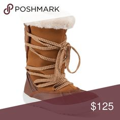"Sporto | Cross Lace Boots Amazingly warm boots for winter. Faux fur, tan color, long cross laces, treads on the bottom for non slip. Very cozy interior designed to keep you warm all day long. Kept one for myself! Love them 💕 they fit true to size. 10"" shaft height, 16"" shaft circumference. New in box. Sporto Shoes Winter & Rain Boots"
