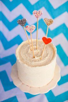 Mini Hearts Topper on Red Velvet Cake