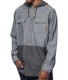 Set your style apart from the rest with this Randy grey and charcoal 2 tone chambray hooded oxford from Dravus. A soft, chambray material with a fully buttoned placket and two different color ways add dimension and texture to a casual look.