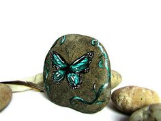 Painted stones - unique art, home decor and. LUCK :) by TheLuckyStones Butterfly Room, Butterfly Gifts, Butterfly Decorations, Butterfly Painting, Stone Painting, Rock Painting, Hand Painted Rocks, Perfect Gift For Her, Acrylic Colors