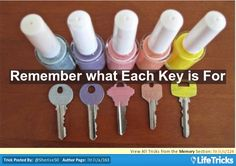 Color Code Keys with nail polish and initial to help remember what each key is for.