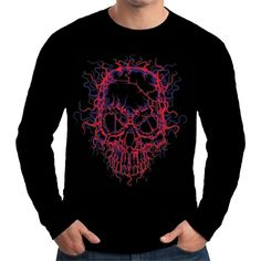 Velocitee Mens Long Sleeve T Shirt Electric Skull Colourful Neon Biker A19423 #Velocitee