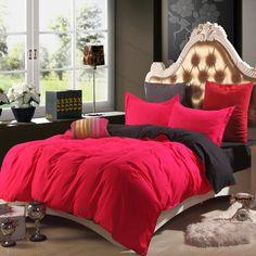 High Quality Velvet Skin Cotton Bedding Set Solid Color Flocked Sanding Winter Bed Linen Twin/Full/Queen Size 4Pcs Free Shipping #Affiliate
