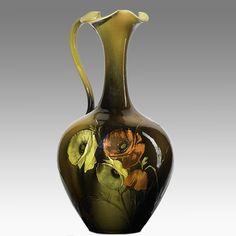 ROOKWOOD Standard glaze pitcher with poppies, Cincinnati, 1891 Rookwood Pottery, Ceramic Pottery, Pottery Art, Ceramic Art, Amazing Decor, Teapots, Spoons, Cincinnati, Poppies