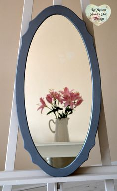 SOLD FREE Delivery LARGE Grey Oval Mirror Wavy Wood Wall Hanging French Shabby Chic by LaMaisonShabbyChic on Etsy