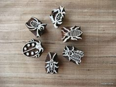 Insects Stamps  Set of 6 Stamps  Wooden Hand by theDelhiStore