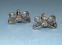 Vintage 1950s Silver metal and Marcasite Bow by QueensParkVintage, $30.00