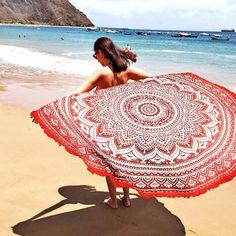 Indian Mandala Round Roundie Beach Throw Tapestry Hippy Boho Gypsy Cotton Tablecloth , Round Yoga Mat Tassel Fringing by nandinihandicraft on Etsy