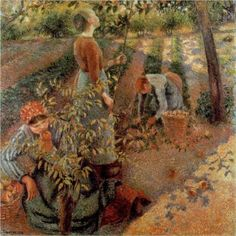 Apple-Picking (1881-1886) - Camille Pissarro - Ohara Museum of Art.  Artist began this piece using Impressionist technique, but finished it using the pointillism style of Neo-Impressionists Seurat and Signac.