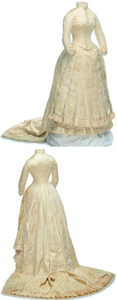 1884 ivory silk wedding dress, Ontario. Boned bodice closes with 18 buttons covered in figured silk. Silk tulle ruffles and bows decorate the neck and the sleeves. The generous skirt, cut to fit over a bustle, is decorated with a gorgeous panel of silk plush, finished with a pleated frill. Via Canadian Museum of Civilization