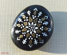 Smaller Hand Painted Alchemy Stone with Gold & White Sacred Geometry Starburst Mandala Design