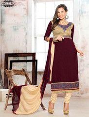 Shonaya Maroon & Cream Designer Embroidered Cotton Semi Stiched Salwar Suit.  http://www.gnoutlet.com/collections/salwar-suits/products/shonaya-maroon-cream-designer-embroidered-cotton-semi-stiched-salwar-suit