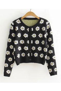 Vintage Black Daisy Cardigan
