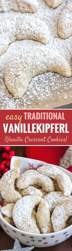 Vanillekipferl German Vanilla Crescent Cookies are traditional German Christmas Cookies made with ground nuts and dusted with vanilla sugar They are tender nutty and melt in your mouth A perfect cookie to make ahead that s always a hit Mini Desserts, German Desserts, Cookie Desserts, Cookie Recipes, Delicious Desserts, Dessert Recipes, German Recipes, Canadian Recipes, Austrian Recipes