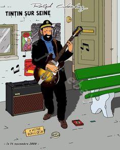 Les Aventures de Tintin - Album Imaginaire - Tintin sur Seine // the Captain... busking? er, okay then