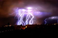 Lightning bolts in Albequerque--I remember seeing amazing storms like this.