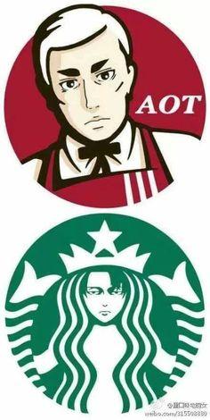 Erwin x KFC and Levi x Starbucks - Attack on Titan - Shingeki no Kyojin Anime Meme, Hiro Big Hero 6, Mega Anime, Attack On Titan Meme, Aot Memes, Image Manga, Eruri, Anime Crossover, Tokyo Ghoul