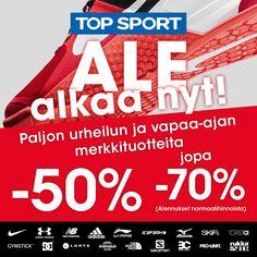 Top Sportin ale alkaa nyt! Paljon urheilun ja vapaa-ajan merkkituotteita jopa –70%!