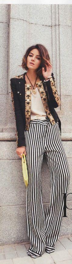 Love the black & white stripped pants