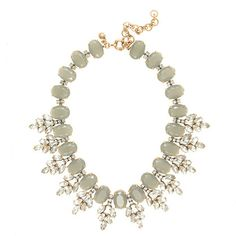 CRYSTAL LEAVES STATEMENT NECKLACE in Classic Gray