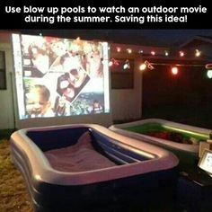 is another fun idea for summer nights. Use blow up pools to watch movies ou., This is another fun idea for summer nights. Use blow up pools to watch movies ou., This is another fun idea for summer nights. Use blow up pools to watch movies ou. Backyard Movie Nights, Outdoor Movie Nights, Outdoor Movie Party, Backyard Movie Party, Outdoor Movie Screen, Movie Projector Outdoor, Backyard Movie Screen, Yard Party, Summer Nights