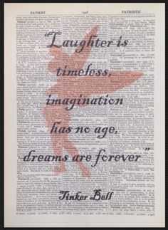 Tinkerbell Peter Pan Quote vintage dictionary wall art print picture laughter