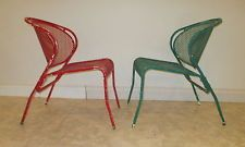 PAIR VINTAGE METAL PATIO CHAIRS, MID CENTURY LAWN FURNITURE, PORCH LOUNGE SHABBY