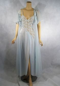 Delicate pale blue vintage night gown