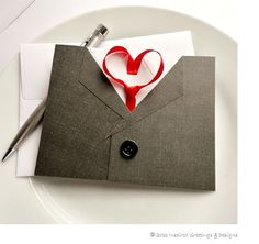 Valentine Card for Him Mens Suit and Tie by InspiredGreetingsAD, $7.99
