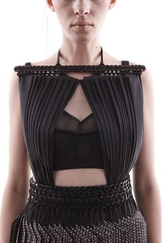 Structured fashion with pleated and woven textures - really interesting use of contrast in materials; fashion design details // Wisharawish