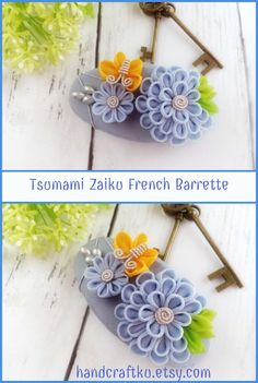 French barrette, kanzashi hair clip, blue chrysanthemum flower hair clip, medium thick hair, 70mm barrette, Women's hair clip #kanzashi #kanzashiflower #tsumamizaiku #frenchbarrette #hairclip #giftideas #hairaccessories #blueflowers #handmade #etsy