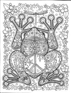 INSTANT DOWNLOAD Peace Frog Coloring Page Easy to use download
