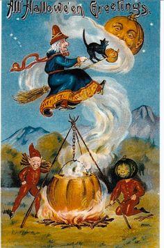 Vintage Halloween Postcard c1900s Witch on Broom 096 | eBay