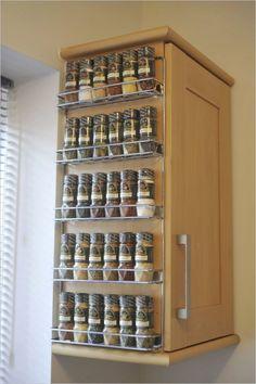 Spice Cabinet Organization - Stunning Kitchen Cabinet Organization Ideas to Inspire. Hanging Spice Rack, Wall Spice Rack, Wall Mounted Spice Rack, Diy Spice Rack, Spice Storage, Diy Storage, Spice Shelf, Storage Racks, Storage Ideas