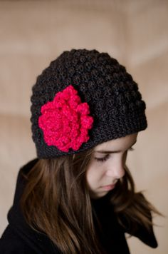Gray Bobble Beanie with Hot Pink Flower on Etsy $20