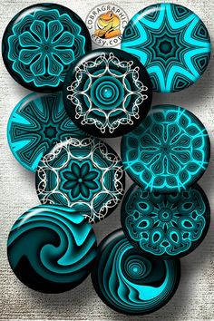 """Turquoise Mandala Designs - 2.625"""" and 1. 850"""" Circles for 2.25"""" and 1.5"""" Pocket Mirrors, Buttons - Digital Collage Sheets CG-883MB"""