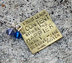 Custom hand stamped square pendant with quote or verse