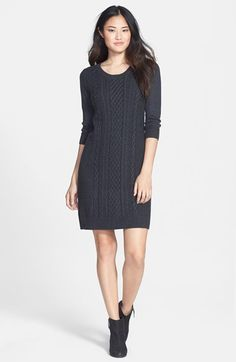 Free shipping and returns on Caslon® Cable Knit Sweater Dress (Regular & Petite) at Nordstrom.com. Beautiful cable patterning details the front of a slim sweater-knit dress styled with a crewneck and three-quarter sleeves.